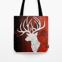 reindeer Tote Bags featuring Reindeer   by Saundra Myles