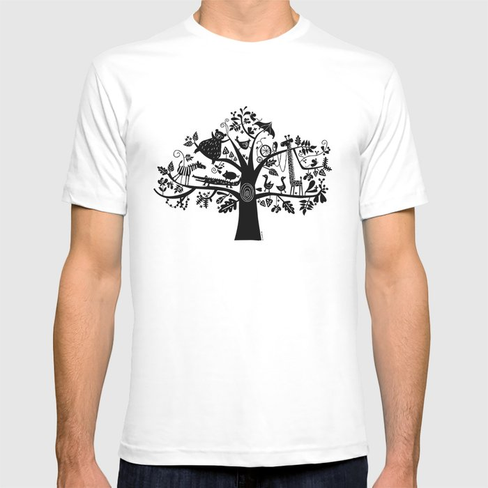 :) animals on tree T-shirt