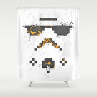 8 bit Shower Curtains featuring 8-bit Trooper by Sitchko