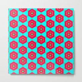 Funky red fowers pattern Metal Print