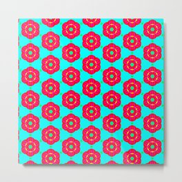 Funky red fowers pattern Metal Print