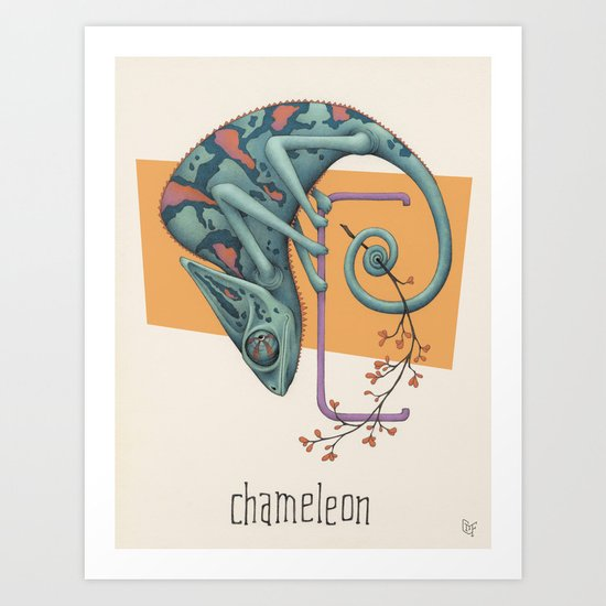 C is for Chameleon Art Print