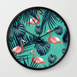 Tropical Flamingo Pattern #7 #tropical #decor #art #society6 Wall Clock
