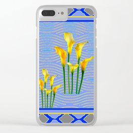 Shades of Blue Yellow Calla Lily Art Clear iPhone Case