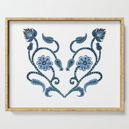 Blue Paisley Heart Serving Tray