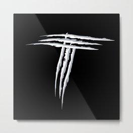 Letter T scratch (wht) Metal Print