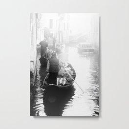 Gondoliers in Venice Metal Print