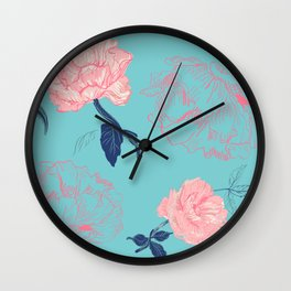 Vintage roses and peonies in bohemian style Wall Clock
