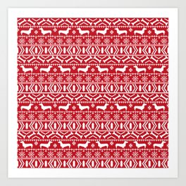 Dachshund doxie fair isle christmas sweater festive red and white holiday dog lover gifts Art Print