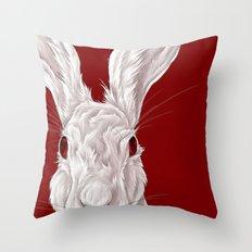 Red Rabbit  Throw Pillow