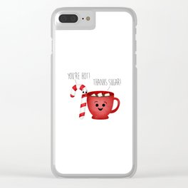 You're Hot! Thanks Sugar! Candy Cane & Hot Chocolate Couple Clear iPhone Case