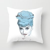 audrey Throw Pillows featuring Audrey by Susana Miranda ilustración