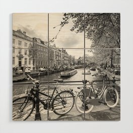 Bicycles parked on bridge over Amsterdam canal Wood Wall Art
