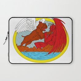 American Bully Dog Fighting Satan Drawing Laptop Sleeve