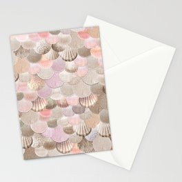 MERMAID SHELLS - CORAL ROSEGOLD Stationery Cards