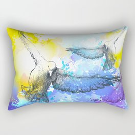 Doves birds flying colorful watercolor painting Rectangular Pillow