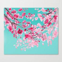 Cherry Blossom Aqua Canvas Print
