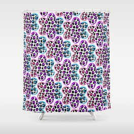 Rainbow Leopard Flower Shower Curtain