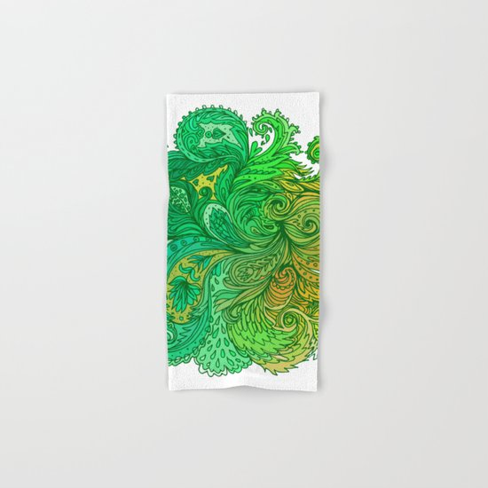 Green Floral Indian Pattern Hand & Bath Towel