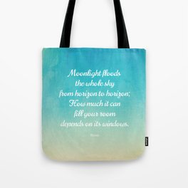 Moonlight Floods the Whole Sky - Beautiful Quote by Rumi Tote Bag