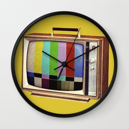 Retro old TV on test screen pattern Wall Clock