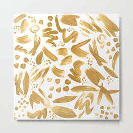 Modern abstract gold strokes paint Metal Print