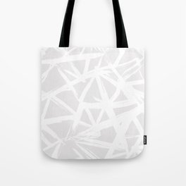 Modern white abstract geometric brushstrokes light grey Tote Bag