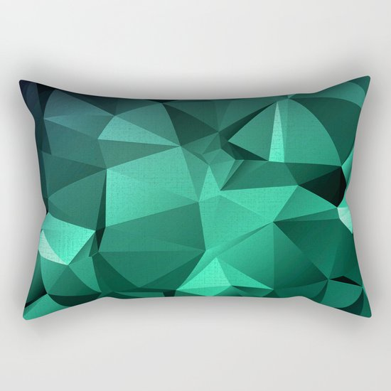 Polygonal geometric triangles pattern . Green , purple and turquoise Rectangular Pillow
