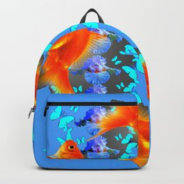 SURREAL GOLD FISH & BLUE BUTTERFLIES ARTWORK Backpack