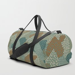 Brush Strokes Abstract Pattern, Olive, Burnt Orange and Teal Duffle Bag