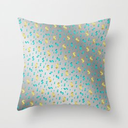 gold,blue silver metal dollar Throw Pillow