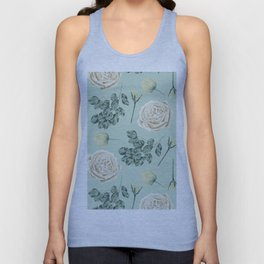Rose Pattern Cream + Mint Green Unisex Tank Top