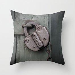 Rusty Adlake Padlock and Chain on Green Wooden Door Rust  Throw Pillow