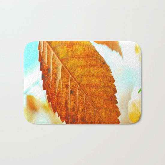 Orange Leaf Bath Mat