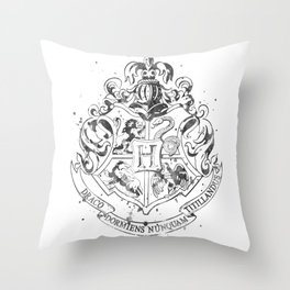 Hogwarts Crest Black and White Throw Pillow
