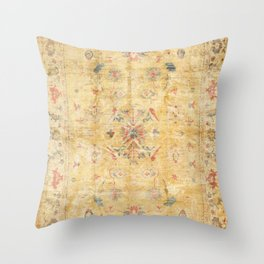 Craft Carpet Century Authentic Colorful Dull Yellow Golden Distressed Vintage Rug Pattern Throw Pillow