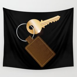 Leather Key Fob With Key Wall Tapestry