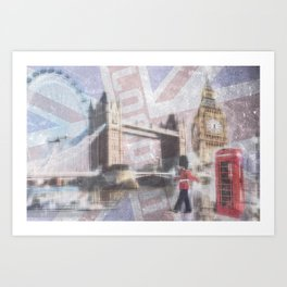 london collage - blue Art Print