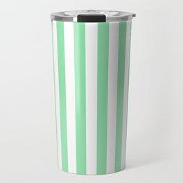 Large Mint Green and White Vertical Cabana Tent Stripes Travel Mug