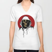 returns V-neck T-shirts featuring Skullboy Returns by Matthew Dunn