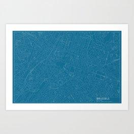 Brussels, Belgium, city map, Blueprint design, landscape format Art Print