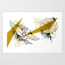 flower and bird Art Print
