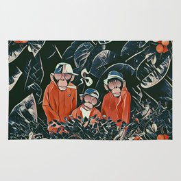 Three monkeys Rug