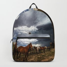 Pride - Horse Watches Over Herd as Storm Approaches Backpack