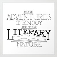 literary Art Prints featuring Literary Adventures by Drop and Give Me Nerdy