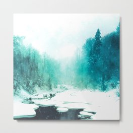 ice river turquoise aesthetic landscape art altered photography Metal Print