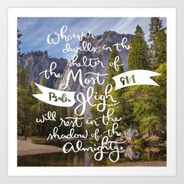 Psalm 91 with Background Art Print