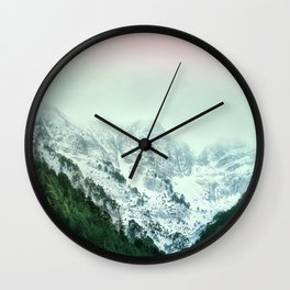 Snowy Winter Mountain Landscape with Alpenglow Wall Clock