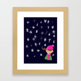 Catch some snow on your tongue Framed Art Print