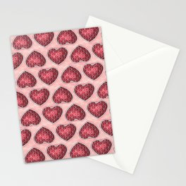 Wine Colored Hearts Stationery Cards